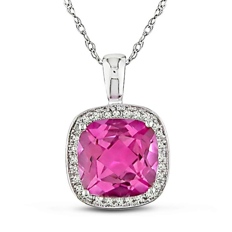 Цепочка с розовым камней топаз