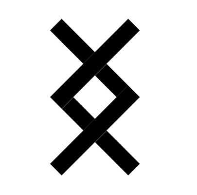 Знак Ингуз в прямом положении