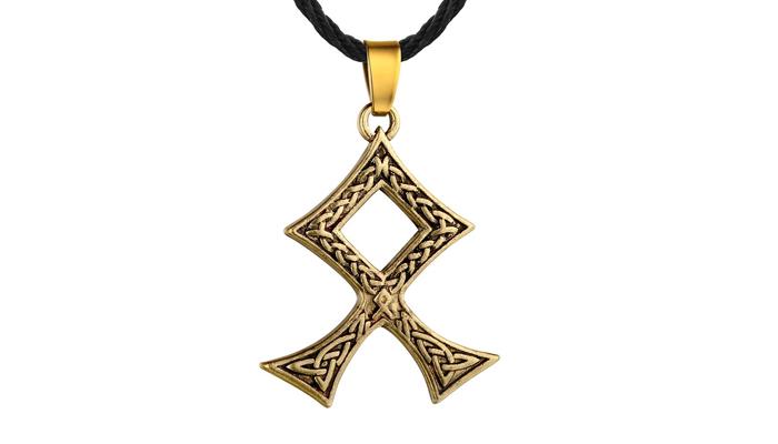 Золотой кулон с руной Одал
