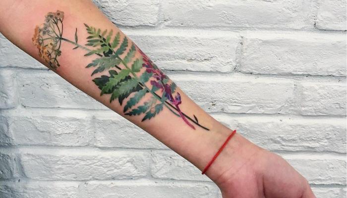Татуировка цветков папоротника