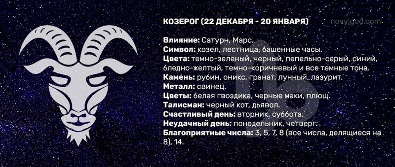 Описание знака зодиака Козерог