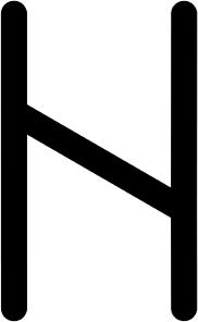 Знак Хагалаз в прямом положении