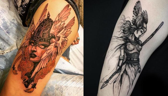 Татуировка Валькирии у девушки