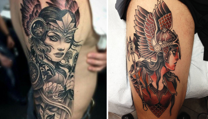 Татуировка Валькирия на руке и ноге